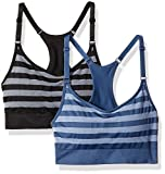 Cheap Spalding Women's Herringbone Stripe Cami Bra 2-Pack, Deep Black/Heron, Large