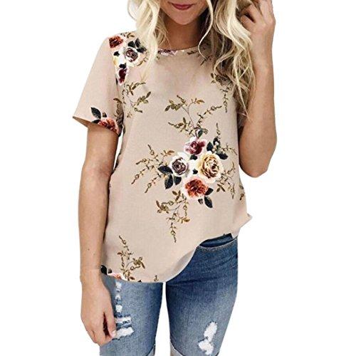 Dainzuy Ladies Sexy Casual Tops, Women's Floral Printing T-Shirt Short Sleeve Blouse (Khaki, XXL)