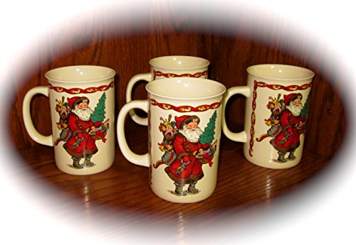 Potpourri Mug - Vintage Set of Four Kris Kringle Christmas/Holiday Mugs/Cups
