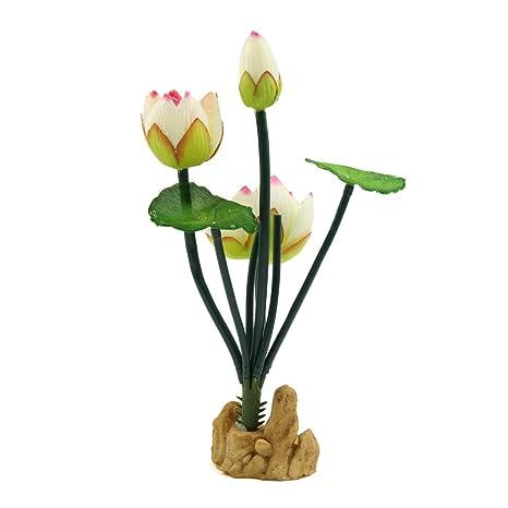 Sourcingmap® Plástico Blanco De La Flor De Loto del Ornamento Acuática para El Acuario De