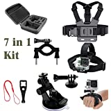 O RLY 7in1 Accessories Kit Chest Harness Head Strap hand Strap Cup Mount Handlbar Mount Medium Case Screw Wrench for GoPro Hero 4 5 6 Cam SJCAM SJ4000 SJ5000 Action Camera