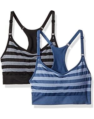 Women's Herringbone Stripe Cami Bra 2-Pack