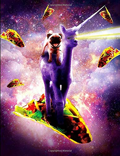 Happy Space Pug Rides Laser Eye Llama With Tacos Notebook: Sermon Notes Journal for Church -