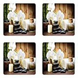 Ambesonne Spa Coaster Set of Four, Asian Spa Style Arrangement with Zen Stones Candle Flowers and Bamboo Art, Square Hardboard Gloss Coasters for Drinks, White Green and Black