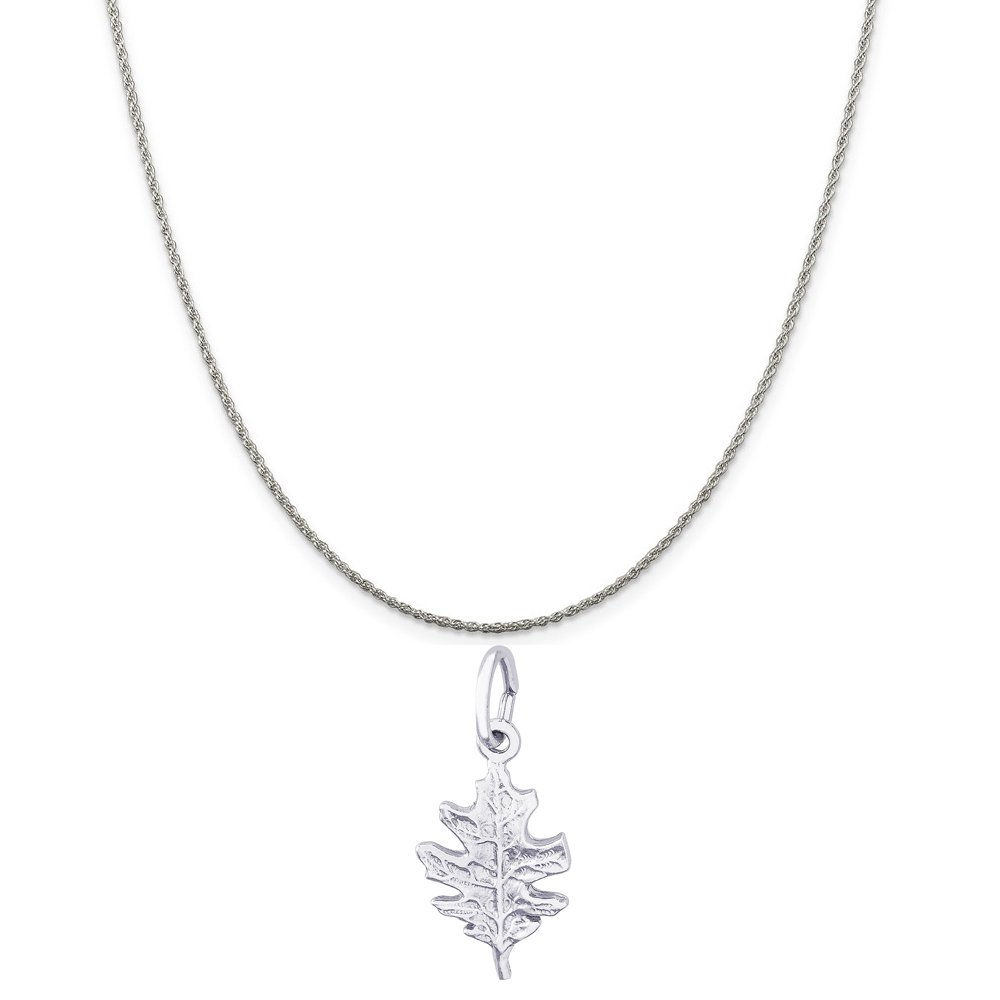Box or Curb Chain Necklace Rembrandt Charms Sterling Silver Oak Leaf Charm on a 16 18 or 20 inch Rope