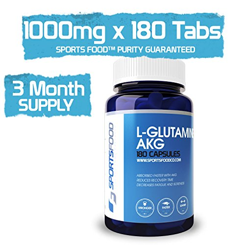 L-Glutamine Alpha-Ketoglutarate (AKG) 1000mg x 180 Tablets, pH Altered for Faster & More Complete Absorption, Smaller Dosage than Competitors by Sports Food