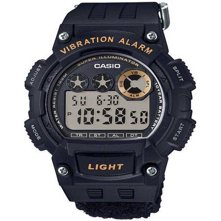 Casio W735HB-1AV Men's Black Vibration Alarm Watch, Nylon Strap, W735HB-1AV
