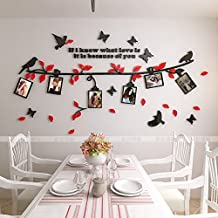 Alicemall 3D Wall Sticker Black Branch Red Leaves with Birds and Butterflies Photo Frame Decorative Wall Sticker (Small, Black&Red)