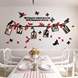 Alicemall 3D Wall Sticker Black Branch Red Leaves with Birds and Butterflies Photo Frame Decorative Wall Sticker (Large, Black&Red)