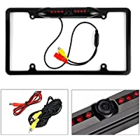 Cache Night Vision 170° Viewing Angle Universal Car License Plate Frame Mount Rear View Camera, 8 IR LED - Black