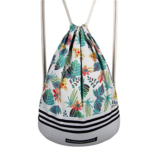 Amazon.com: Autumn Water Printing Polyester Drawstring Bag Women Mochila Escolar Travel School Backpack Casual Sack Pack Shoulder Bags Daypack: Kitchen & ...