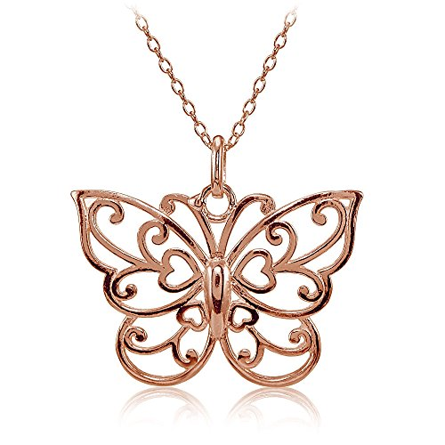 - Hoops & Loops Rose Gold Flashed Sterling Silver High Polished Filigree Butterfly Necklace
