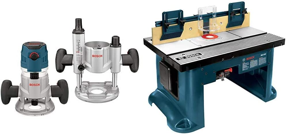 Bosch MRC23EVSK Combination Router - 15 Amp 2.3 Horsepower Corded Variable Speed Combination Plunge & Fixed-Base Router Kit with Hard Case & Benchtop Router Table RA1181