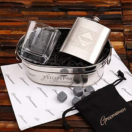 Branded Hip Flask, Ice Bucket, Whisky Glass and Stones Gift Set