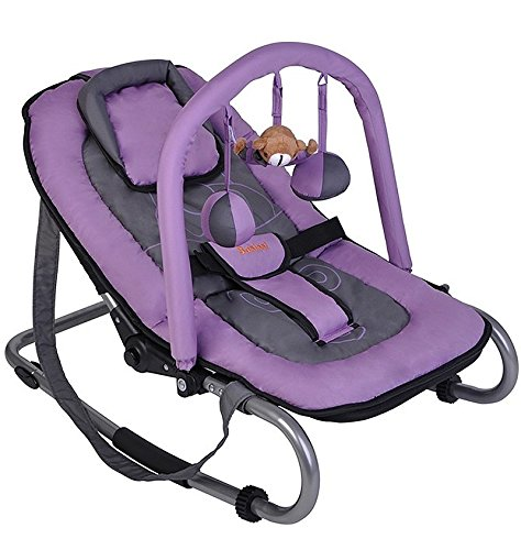 Baninni Babyschaukel Babywippe grau/lila mit verstellbarer Rückenlehne, Spielebogen, Tragegurt BAN-677