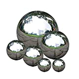 zosenda Stainless Steel Gazing Ball, 6 Pcs 50-150 mm Mirror Polished Hollow Ball Reflective Garden Sphere, Floating Pond Balls Seamless Gazing Globe for Home Garden Ornament Decorations
