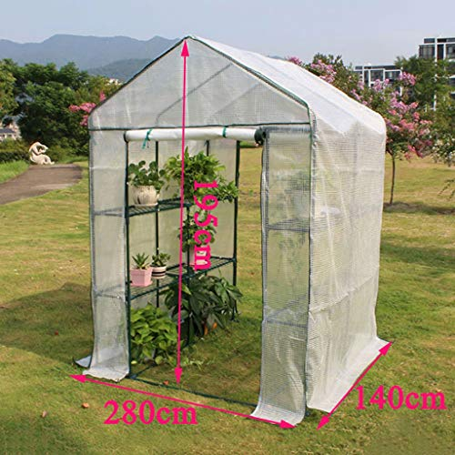 XY&CF-Flower house Plant Greenhouse PE mesh Cloth All Steel Skeleton Double Door Greenhouse Garden (280140195cm) (Door Greenhouse Double)
