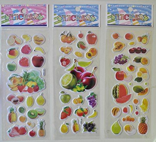 MOKRIL 6-Sheets Kids Cartoon Novelty Educational 3D Reusable Stickers Decals ~ Butterflies, Animals, Cars, English Alphabet, Numbers, Party Supplies, Fruits, Dress Up Dolls (Fruits) - Doll Dress Dora Up