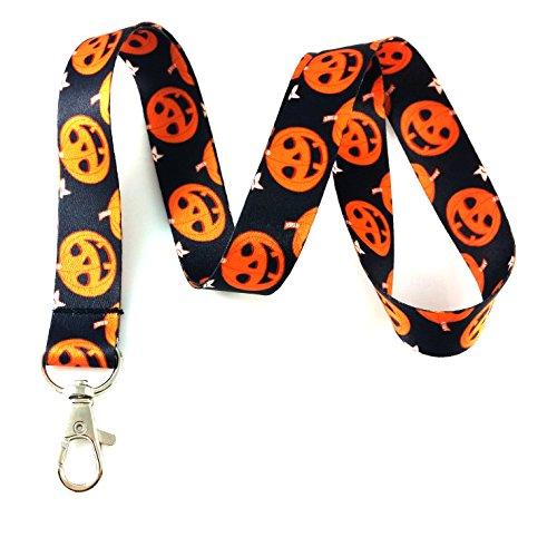 Halloween Pumpkins Print Lanyard Key Chain Id Badge -