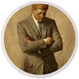 Pixels Round Beach Towel With Tassels featuring ''President John F. Kennedy Official Portrait By Aaron Shikler'' by Movie Poster Prints