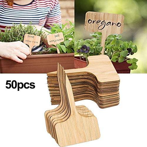 PoeHXtyy 50 Piezas de Etiquetas de Plantas de bambú, Palos de Etiquetas de Plantas de jardín, Etiquetas de Tipo T Etiquetas de jardín de vivero para Plantas de huerto: Amazon.es: Jardín