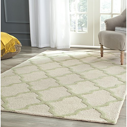 Safavieh Cambridge Collection CAM121N Handcrafted Moroccan Geometric Ivory and Light Green Premium Wool Area Rug (9