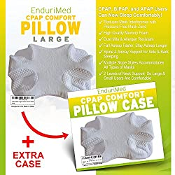 CPAP Pillow w/ Extra Case -Memory Foam Contour Design Reduces Face & Nasal Mask Pressure - 2 Head & Neck Rests For Max Comfort - CPAP, BiPAP & APAP Users - For Stomach, Back, And Side Sleepers
