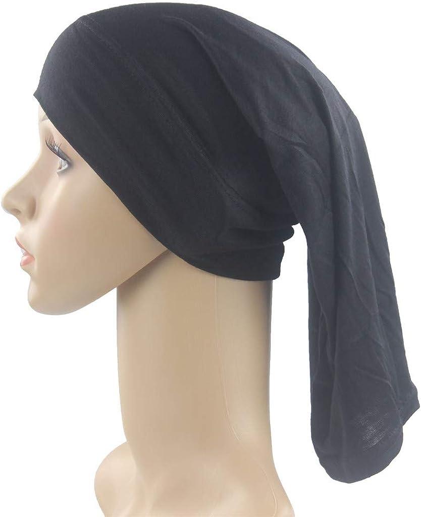 ZEELIY Femme Mode Musulmane Coton Chapeau Islamique Couverture Int/égrale Chapeau /ÉLastique Turban Couleur Unie Longue Queue Chapeau T/êTe /ÉCharpe Wrap Chapeaux