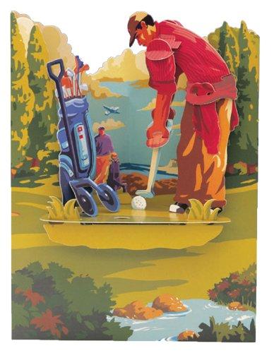 Santoro Interactive 3-D Swing Greeting Card, Golf (SSC65) (Golfer Sculpture Golf)