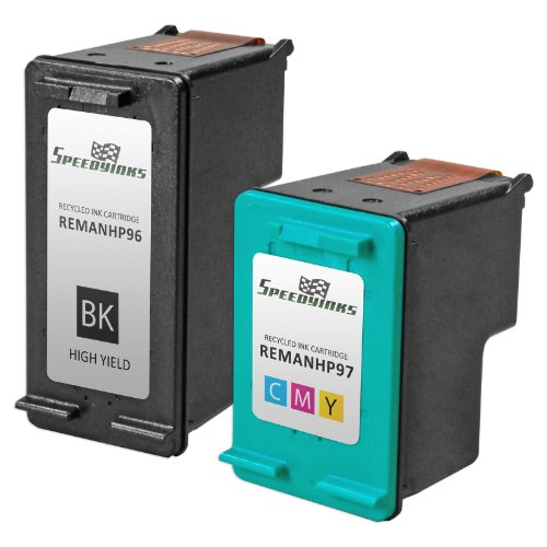 Speedy Inks - 2PK Remanufactured replacement for HP 96 C8767WN & HP 97 C9363WN Ink Cartridge Set: 1 Black & 1 Color