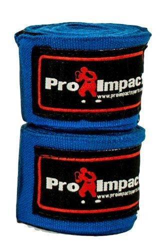 Pro Impact Boxing/MMA Handwraps 180 Mexican Style Elastic 1 Pair BLUE