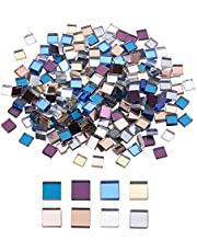 PH PandaHall 8 Color Square Mirror Mosaic Tiles, 240pcs Mini Glass Craft Decorative Mosaic Tiles for Home Decoration Jewelry Making