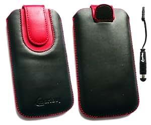 Emartbuy ® Stylus Pack Para Nokia C6-00 Negro / Rojo Cuero Pu Premium Slide In + Funda / Estuche / Manga / Soporte (Tamaño Grande) Con Mecanismo Pull Tab Stylus Metálico Mini Negro + Protector De Pantalla