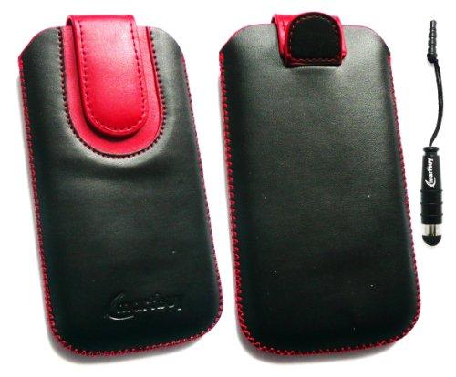 Emartbuy® Stylus Pack Para Huawei Ascend Y300 Negro / Rojo Pu Superior De Cuero Slide En La Bolsa / Caja / Manga / Titular (Tamaño 3Xl) Con Mecanismo Pull Tab + Metallic Mini Negro Stylus + Protector