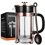 MeetU French Press Coffee Maker with 4 Filters, 34 Ounce FDA 304 Stainless Steel BPA-Free Borosilicate Glass Carafe Tea Maker For Sale