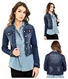 New Shelikes Womens Short Cropped Mid Wash Blue Stretch Denim Long Sleeve Lightweight Jacket