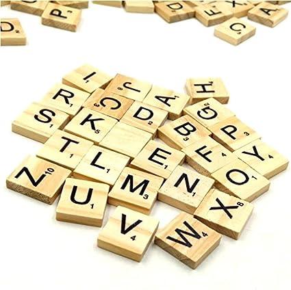 Joyer/ía Manualidades Set de 100 Letras de Madera para Scrabble Set para Juegos de Mesa