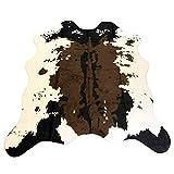 Cowhide Rug 4.6x5.2 Feet Faux Fur Cow Print Area Rug Carpet Mat Home Kids Room. (Brown)