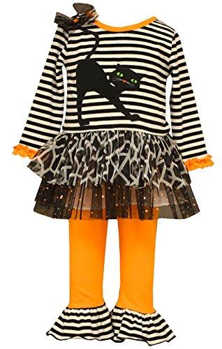 Bonnie Jean Little Girls Black CAT Applique Sparkle Halloween Tutu Leggings Set (6, -