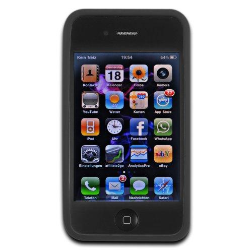 deinPhone - iPhone 4 4S Case Schutzhülle Schutz Handy Hülle Bumper Tasche Etui SOFT Case Rundmuster in Schwarz