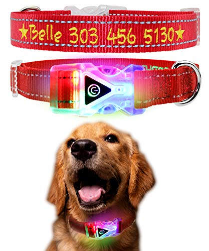 (Personalized Dog Collar with Illuminated ABS Buckle, Embroidered LED Dog Collar with Custom Pet Name & Phone Number, Reflective Stitching Safety, Waterproof Flashing Light Breakaway Buckle,Red)