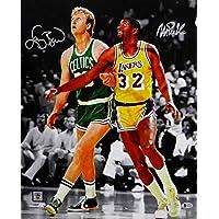 $235 » Larry Bird Magic Johnson Autographed 16x20 BW Spotlight Photo - Beckett Auth Silver