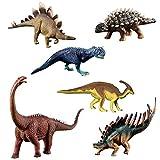 HOMNIVE Dinosaur Toys - 6 Pcs Kids Realistic Dinosaur Figures - Learning Educationl Toys for Kids Toddler Boys Girls (Alamosaurus, Carnotaurus etc)