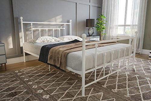 DHP Manila Metal Bed with Victorian Style Headboard and Footboard, Includes Metal Slats, Queen Size, White Loft Style Furniture