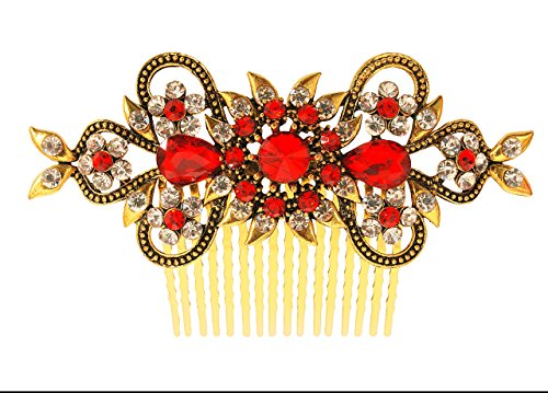 - Vogue Hair Accessories Antique Plated Exclusive Collection Wedding Party Fancy Bridal Comb Hair Clip (Red)