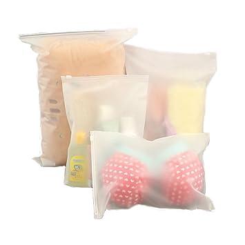 Ponny - Juego de 5 bolsas de plástico con cierre hermético con todos los tamaños para ropa, embalaje, viajes, transparentes, pequeños recipientes de ...