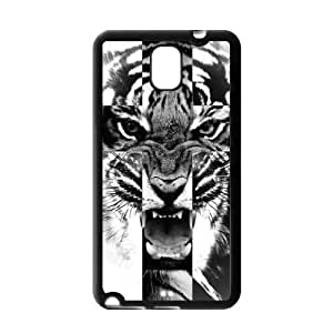 Black and White Tiger Roar Cross Rubber Cell Phone Cover Case for SamSung Galaxy Note 3
