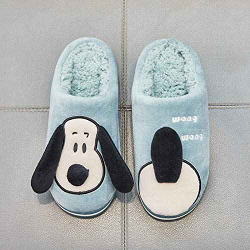 40 El De Claro Lindos Dibujos Para Mujer Hogar Perros Antideslizantes Azul gris 39 Zapatillas Shoes Animados Interior Algodón Invierno aqHHvw