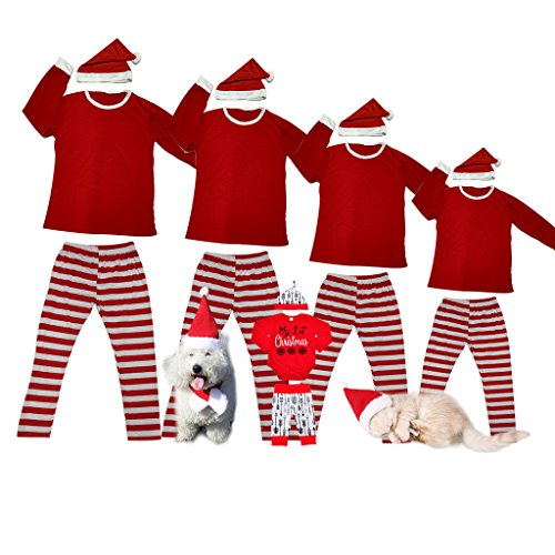 Matching Christmas Pajamas For Family And Dog Red And White Striped Pjs Sets Baby Cute Snowflake Santa Clothes Xmas Thanksgiving Mom And Daughter Kids Boys Girls Sleepwear Holiday Jammies For Couples (Snow White Family Costumes)