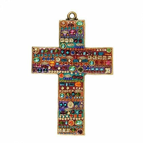Rainbow Wall Cross Handmade in USA. Plated in 24K Gold and Embedded with Swarovski Crystals. Spiritual and Unique Home Decor.